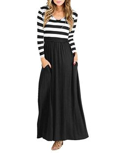 0806600f9de  21.99 Vabecid Casual Women Long Sleeve Striped Patchwork Tunic Vintage Maxi  Dress with Pockets Belt at Amazon Women s Clothing store