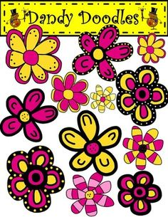 Fun and funky flowers to brighten and embellish your products, scrapbooks, etc.  18 PNG images: 12 color and 6 BW.  $