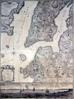 One of the most famous maps of the colonial period, this one was made by Bernard Ratzer, a surveyor and lieutenant in His Majesty's 60th Royal American regiment. The surveying took place in the mid-1760s. The scene depicted on the bottom of the map is looking south-west from Governor's Island. The map is stunning for its accuracy, detail, artistic engraving. Only a few copies are extant.