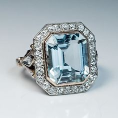 Vintage Art Deco Aquamarine Diamond Engagement Ring - Antique Jewelry | Vintage Rings | Faberge Eggs