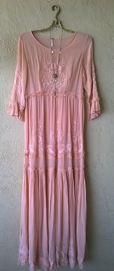 SALE!! $65.00 Image of Free People Romantic Special edition pale apricot Embroiderey lace maxi gown