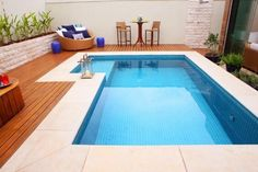 Welcome to our custom swimming pool design ideas where we feature many terrific pool designs including in-ground, custom shape, covered, indoor, infinity a Small Backyard Pools, Backyard Pool Designs, Small Pools, Swimming Pools Backyard, Swimming Pool Designs, Pool Decks, Pool Landscaping, Backyard Decks, Kleiner Pool Design