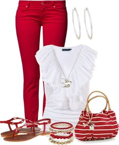 """I don't wear much red, but this is cute !  """"Untitled #317"""" by sweetlikecandycane ❤ liked on Polyvor"""