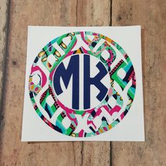 Circle monogram frames, so many combinations. Check them out today! Lilly Pulitzer inspired vinyl monograms. Ikat design. Many more to choose from.