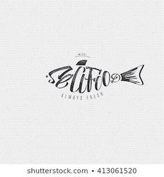 Business Card Template Photoshop, Logo Restaurant, Logo Food, Logo Design Inspiration, Seafood, Branding Design, Typography, Fish, Graphic Design
