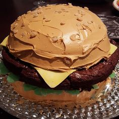 Birthday week finale ended in awesome fashion. The whole family chipped in and created this burger cake for me. Complete with Yellow Cake Bun, Brownie Burger, Fondant Cheese, Spearmint Lettuce, and Rice Krispy Sesame Seeds. On top of looking awesome, it was delicious. Couldn't stop eating it. Lucky boy @burger #Burger #Cake #SuperBowl