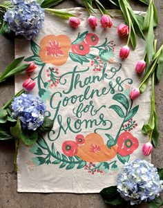 Mom Tea Towel The Best Mother's Day Gift! Forget a card. She'll use this every day. Not to mention, it will bring beauty to any kitchen.