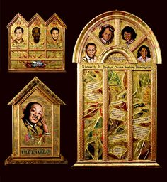 Pamela Chatterton-Purdy's gilded panels portraying influential figures like the Rev. Dr. Martin Luther King Jr. and Rosa Parks can be seen at Les Beaux Arts Gallery, in Round Hill Community Church in Greenwich.