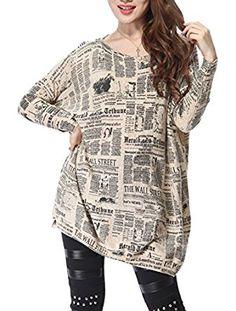 ELLAZHU Women Baggy Newspaper Knit Pullover Dress Onesize SZ44 Beige at Amazon Women's Clothing store: