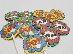 superhero cupcake toppers marvel comic cupcake by Favors4Fun, $15.00
