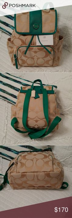 Coach backpack/Bag New without Tags, never worn, Coach Backpack. Beautiful Green Color and Tan colors to wear with your favorite spring outfit! Coach Bags Backpacks