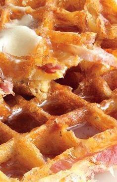 I know two boys who would be more than willing to sample the fare.  Ham-and-cheese waffles. This recipe is breakfast perfection.