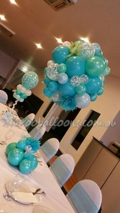 Tiffany inspired topiary tree centrepiece by Shivoo Balloons in Melbourne. - Decoration For Home Balloon Table Centerpieces, Masquerade Centerpieces, Balloon Arrangements, Balloon Decorations Party, Birthday Decorations, Baby Shower Decorations, Balloon Ideas, Centrepieces, Wedding Centerpieces
