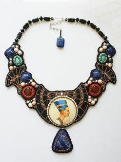 "Buy necklace ""Nefertiti"" - modern, lacquer miniature, turquoise, carnelian, Egypt, Nefertiti, lapis lazuli, carnelian"