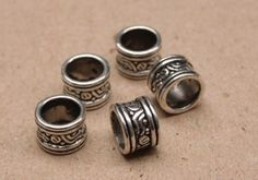 10 Tibetan Silver DREADLOCK BEADS 7mm Hole DREAD Hair by lyndar85, $8.00