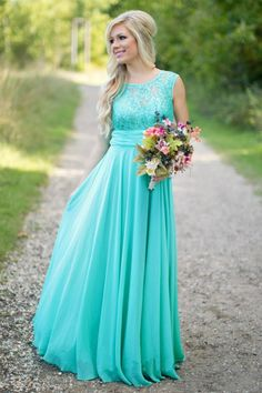Fantasy Turquoise Bridesmaid Dresses Crew Neck Sequined Lace 2016 Chiffon Long Maid of Honor Party Dresses Prom Custom Made