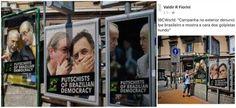 Painéis espalhados pelas ruas de Londres, na Inglaterra, destacam imagens de políticos brasileiros como o vice Michel Temer, o presidente da Câmara, Eduardo Cunha (PMDB), e o líder da oposição Aécio Neves (PSDB) como a cara dos golpistas que tentam destituir a presidente Dilma Rousseff do poder no Brasil