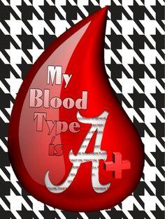 My blood type is A+ Roll Tide Roll! Alabama Football Funny, Alabama Logo, Sec Football, Crimson Tide Football, Football Memes, Alabama Crimson Tide, Football Season, Football Sayings, Alabama Memes