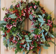 classic Christmas wreath with greens and red berries <3