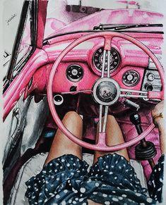 """좋아요 236개, 댓글 13개 - Instagram의 Jeanie(@jeanie_artwork)님: """". Pink vintage . . . . . . . . #drawing #painting #watercolor #pendrawing #art #artwork…"""" Cute Cartoon Girl, Black And White Canvas, Just Style, Watercolor Fashion, Pink Art, Instagram Story Ideas, Vintage Pink, Female Art, Fashion Art"""