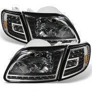 Led Drl Black Headlights With Corner Lights For Ford F150 97 03 Black Headlights Ford F150 Spyder Auto