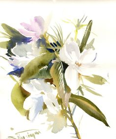 Jasmine, White flowers, original watercolor painting, 14 X 11 in, garden flowers, herbs, botanical, floral wall art, white green