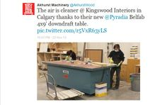 Tweet from Akhurst Machinery - Belfab downdraft table in use at Kingswood Interiors.