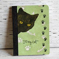 Black Cat Mini Journal Notebook Altered Composition by CarolaBartz, $8.00