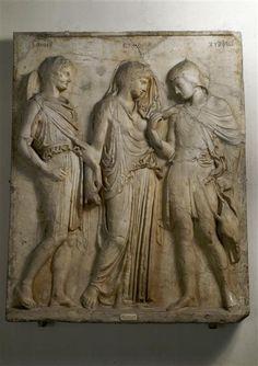 Mercury (Hermes), Eurydice, and Orpheus, Roman relief (marble), copy after Greek original, 1st century AD (original 5th c. BC), (Museo Archeologico Nazionale, Naples).