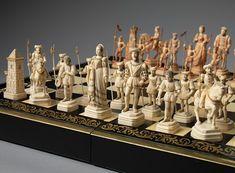juego de ajedrez del siglo XIX alude a la reunión del Rey Inglés Enrique VIII y el  francés Francisco I en el Campo de la Tela de Oro. se reunieron cerca de Calais, Francia, en 1520.Piezas de marfil