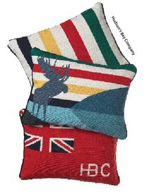 Classic Hudson's Bay blankets and pillows are timeless. Celeb designer Yanic Simard says these are a safe bet to freshen your room as we change seasons! Canada Day Crafts, Oar Decor, Hudson Bay Blanket, Lakeside Cottage, Work Socks, Getting Ready For Baby, Needlepoint Pillows, Perfect Pillow, Camping