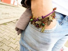 Layered boho bracelet antiqued style bracelet evil by Handemadeit