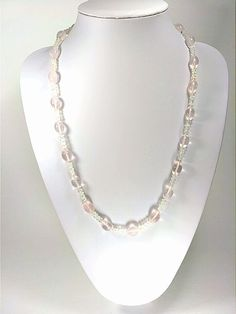 Blue Rainbow Moonstone 6mm Gem Rose Quartz 8-12mm - Therapeutic Necklace for Healing and Meditation
