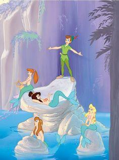 Peter Pan at The Mermaids Lagoon Disney Pixar, Old Disney, Disney Animation, Disney And Dreamworks, Disney Love, Disney Magic, Disney Characters, Mermaid Disney, Mermaid Art
