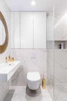 Un Piso Moderno Elegante Y Funcional En Polonia Bany Bathroom Small Bathroom Layout, Downstairs Bathroom, Modern Bathroom, Bad Inspiration, Bathroom Inspiration, Small Toilet Room, Toilet Design, Bathroom Design Luxury, Bathroom Toilets