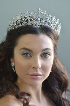 Regal Forever Queen Wedding Tiara Elena Designs E850 with Opal Stones - Affordable Elegance Bridal -