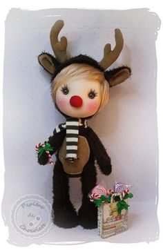 A precious Nugget in reno, ideal to decorate at Christmas, or as a gift for that special someone ;) Measures 35 cm approximately. Christmas Holidays, Christmas Decorations, Christmas Ornaments, Holiday Decor, Polymer Clay Dolls, Sewing Dolls, Primitive Crafts, Reno, Waldorf Dolls