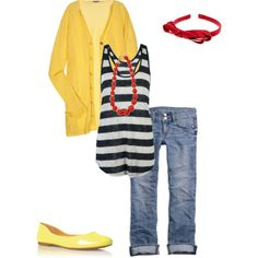 I like the red & yellow with the navy blue and white I usually do one or the other but this works