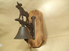 Rustic Moose Cast Iron Bell  -- lodge cabin decor -- reclaimed western cedar