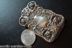 ANTIQUE STERLING SILVER MATCH SAFE BY GILBERT 4 CRUBS HEAD DESIGN in Antiques, Silver, Sterling Silver (.925)   eBay