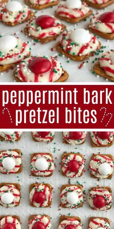 Peppermint bark pretzel bites are sweet n' salty perfection. Melted candy cane crunch Hershey kiss on top of a pretzel, and then topped with a peppermint white chocolate m&m candy. Perfect for Christmas cookie plates or just a fun Holiday treat. Christmas Bark, Christmas Snacks, Christmas Cooking, Christmas Parties, Christmas Candy Bar, Holiday Candy, Baking For Christmas, Christmas Puppy Chow, Homemade Christmas Treats