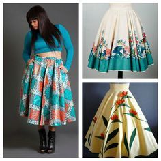 Use a round table cloth with a border-print for a circle skirt!