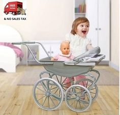 Baby Doll Carriage Stroller Classic Buggy With Canopy Oversized Wheels Grey