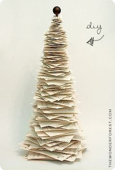 Paper Christmas Tree (inspired by Anthropologie) Not only is this the perfect decoration, but it is an even better way to recycle old books and music sheets! One of my favorites from Knock Off Decor.
