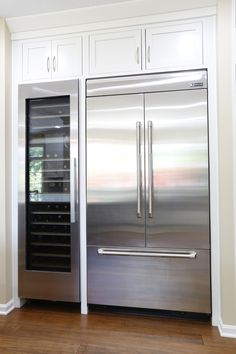 Jenn Air Integrated Built-In French Door Refrigerator next to a Miele wine fridge has this kitchen ready and prepared for the everyday to the most extravagant of parties. Jenn Air 42 av Built-in French door refrigerator and next to a Miele wine fridge. Kitchen Redo, Kitchen Pantry, New Kitchen, Kitchen Storage, Kitchen Remodel, Kitchen Appliances, Jenn Air Appliances, Miele Kitchen, Kitchen Built Ins