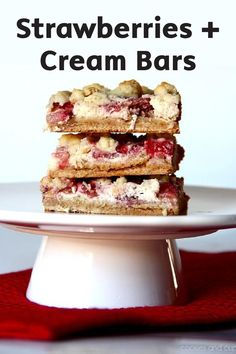Simply start with cake mix and you'll be on your way to creating these scrumptious Strawberries and Cream Bars in no time!