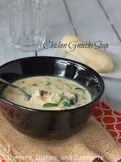 Lightened up version of Olive Garden's Chicken Gnocchi Soup