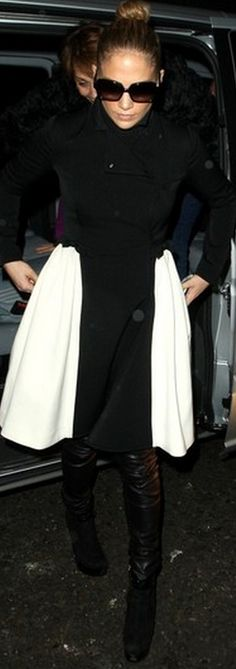 Who made Jennifer Lopez's black suede boots and black and white bow coat that she wore in New York? Shoes – Fendi  Coat – Valentino