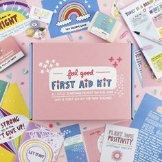 Box Packaging, Packaging Design, Branding Design, Packaging Supplies, Positive Art, Brand New Day, Peppermint Tea, Happy Pills, First Aid Kit