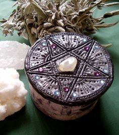 .I want to try making something like this. It looks like polymer clay inlaid with beads and stones.